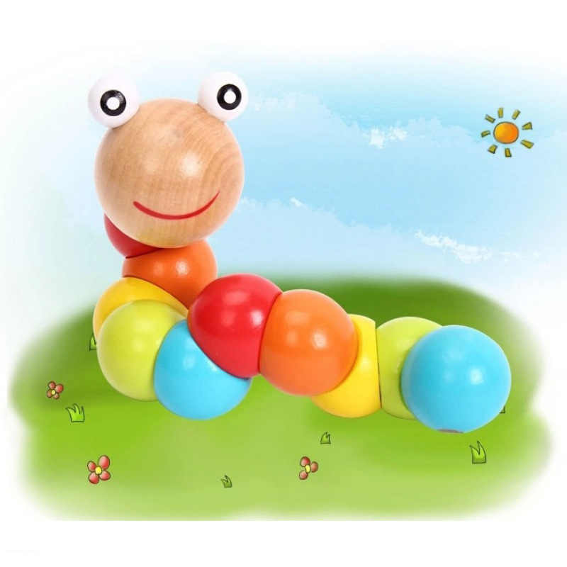 Sıcak ahşap Büyülü Böcek Bulmaca tırtıllar oyuncaklar bebek çocuklar için eğitici renk gelişim oyuncaklar doğum günü hediyesi