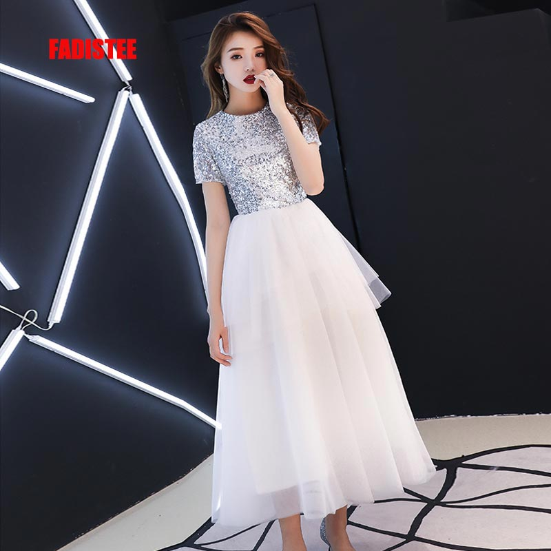 FADISTEE New arrival   cocktail   party prom   Dress   short sleeve Vestido de Festa ivory white sequins simple tea-length style   dress