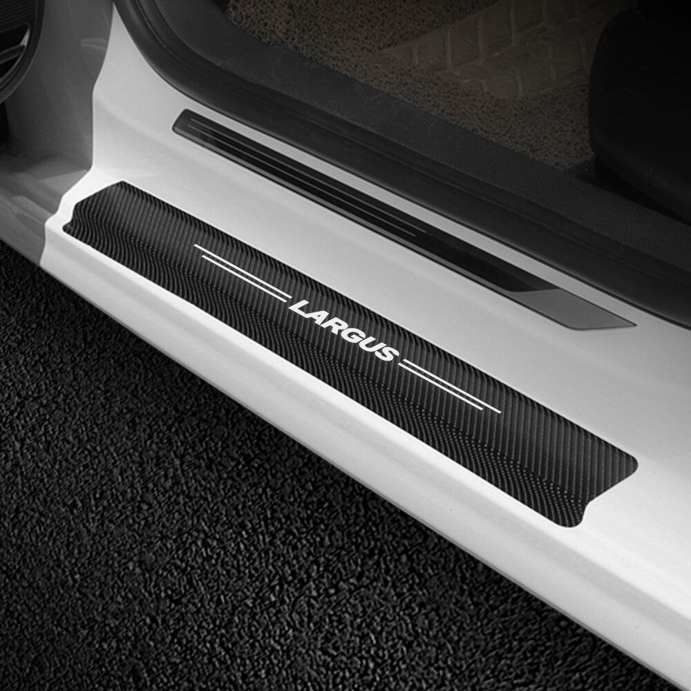 4PCS Car Door Sill Scuff Guard Stickers For Lada Vesta Xray Largus Auto Door Threshold Carbon Fiber Protector Decor Accessories