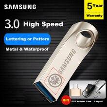 SAMSUNG USB Flash Drive Disk 64gb 32gb 128gb Pendrive USB 3.0 Metal usb Pen Custom Lettering Pattern Drive Tiny Memory U Disk