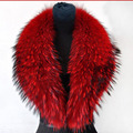 80/90/100 cm 2016 Inverno 100% Real Natural Raccoon Fur Collar & Lenços Das Mulheres Da Moda Casaco Camisola cachecóis Longos e Grossos Cap Pescoço