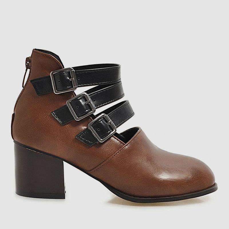 Buckle up Chunky High Heels women shoes Women's Boot