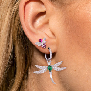 Image 2 - SLJELY 925 Sterling Silver Dragonfly Asymmetric Earrings Inlayed Green Red Blue Cubic Zirconia for Women Insect Fine Jewelry