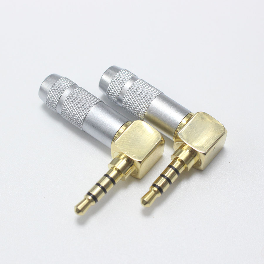 small resolution of eclyxun 2pcs lot high quality 3 5mm 4pole male headphone jack right angle 90 degree solder plug mini connector