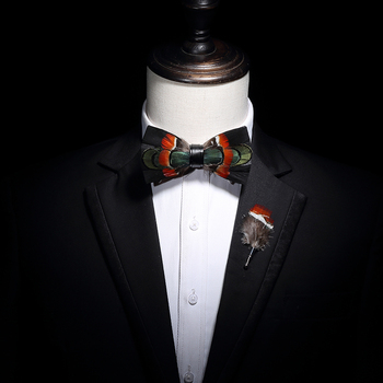 free shipping new fashion men's male High-end feather bow tie brooch set green Western Europe groom party DJ ball wedding party