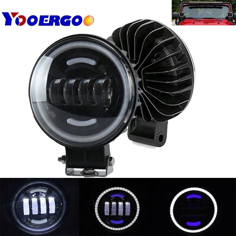 12V 35W LED Work Light Bar Spotlight 6000K White Car Headlight IP67 Automobile LED Spot Flood Light for Jeep SUV Wrangler