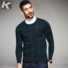 KUEGOU 2017 Fashion Autumn Plaid Male Winter Pullovers O-neck Sweaters Man's Plaid Knitwear Slim Fit Brand Lattice Clothes