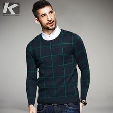 KUEGOU 2017 Fashion Autumn Plaid Male Winter Pullovers O-neck Sweaters Man's Plaid Knitwear Slim Fit Brand Lattice Clothes