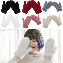 Winter Refers To Warmth Thickening Velvet Gloves Beautiful Winter Mittens Gloves Without Fingers Luvas Full Finger Gloves Women