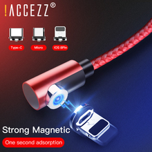!ACCEZZ 90 Degree Fast Magnetic Cable Micro USB Type C For iPhone XS X MAX 7 Samsung S8 Huawei P9 P10 Magnet Charger Cables Cord