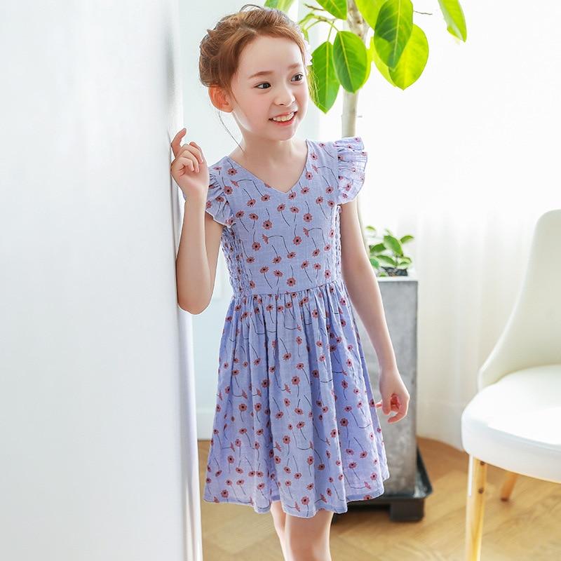Flowers Printed V Neck Summer Dresses For Kids Girl -7986