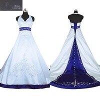 خمر العروس اللباس الرسن ألف خط التطريز الأبيض و الأزرق الحرير الرجعية فستان الزفاف M170717-3
