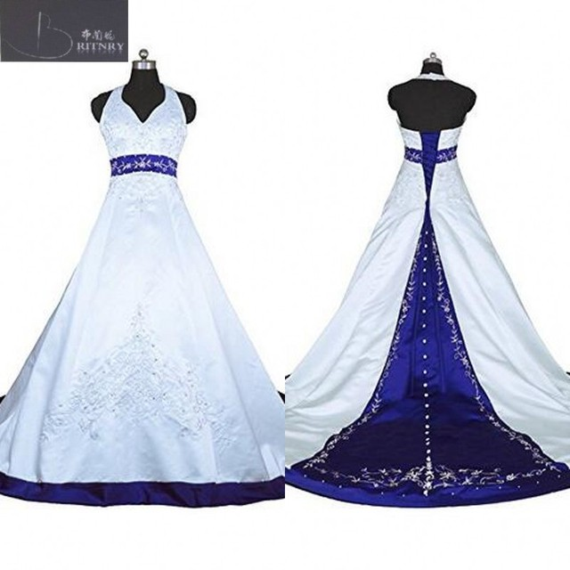 Vintage Bride Dress Halter A Line Embroidery White and Blue Satin ...