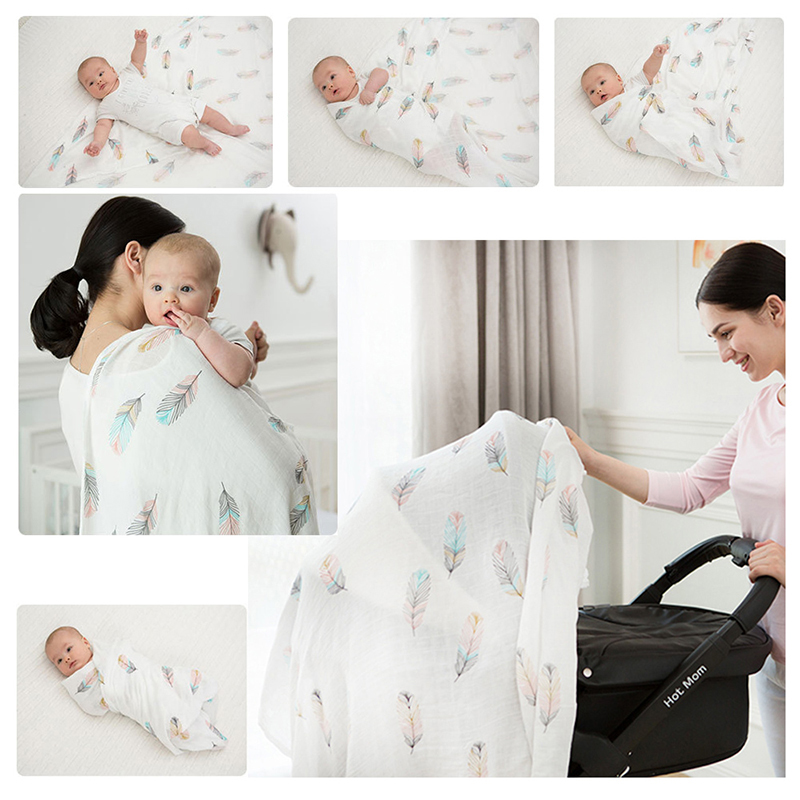 Newborn Muslin Cotton Swaddle Blankets Baby Accessories