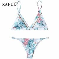 CHARMMA New Cami Padded Floral Print Thong Bikini Push Up Sexy Biquini Women 2017 Swimwear Summer