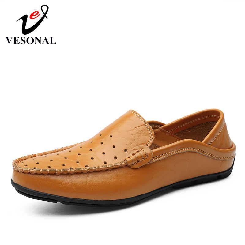5af4e1147 ... VESONAL Лето 2019 г. дышащая мужская обувь из натуральной кожи Лоферы  для женщин мужские Мокасины ...