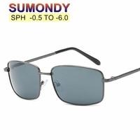 8e24fdcb4 SUMONDY SPH 0 5 To 6 0 Prescription Myopia Sunglasses Men Women Alloy Frame  Grey Lenses