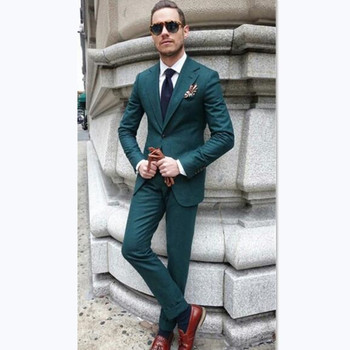 Custom Mens Suits green notched lapel men tuxedos summer street blazer smart casual business beach prom wedding slim jacket+pant