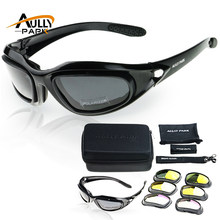 Motorcycle Glasses Army Polarized Sunglasses For Hunting Shooting Airsoft EyewearMen Eye Protection Windproof moto Goggles UV400(China)