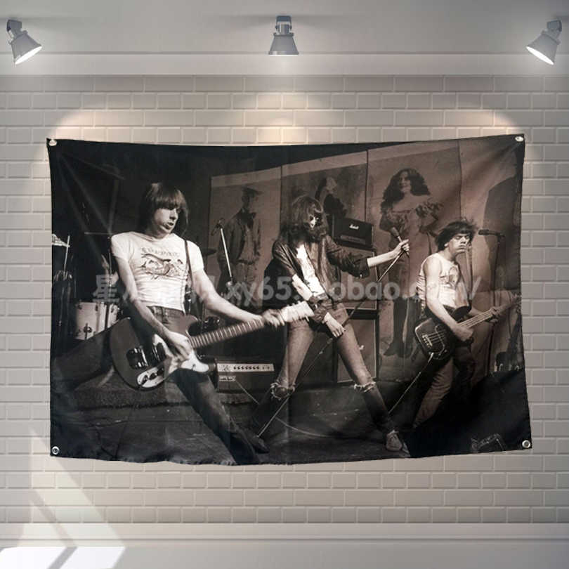 """RAMONES"" Pop Band Poster Cloth Flags Wall Stickers Hanging paintings Billiards Hall Studio Theme Home Decoration"