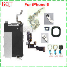 For iphone 6 Full LCD Metal Backplate Shield Repair Set Parts Front Camera Ear Speaker Plate home button for iphone6 4.7″