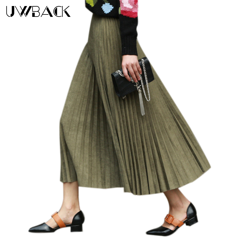 Uwback Velvet Skirt Women Warm Skirts Pleated Autumn Winter Long Vintage Saia for Lady Party Club Skirt Silver Wine Pink, EB377