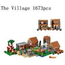 LEPIN 1673 unids Mi Mundo El Pueblo Minecraft Modelo kits de construcción anime figuras de acción juguetes de los niños Educativos 21128