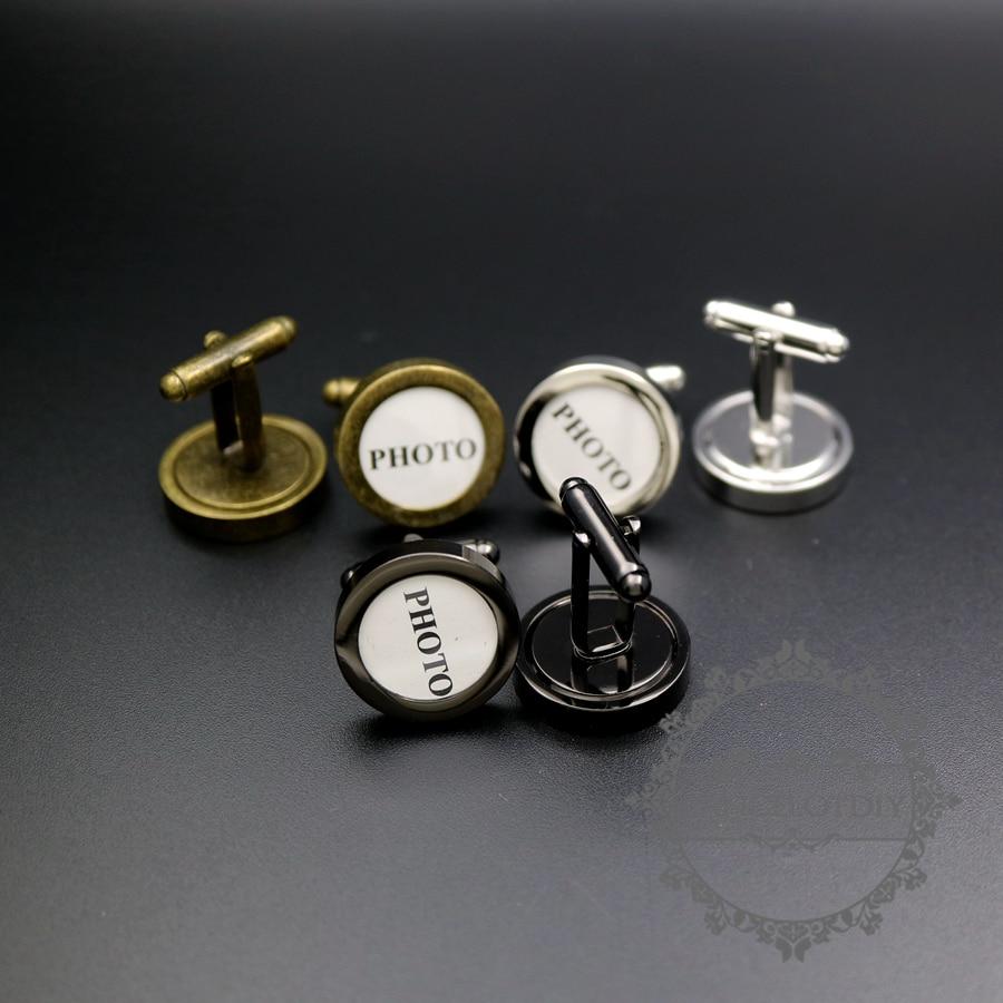 14mm Round Silver,gun Black,bronze Bezel Tray Photo Frame Brass Cuff Links,custom Wedding Photo Cufflinks Blank Supplies 1500139