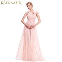 Ladies Flower Applique Pink Evening Dresses Long 2016 Elegant Formal Dress Pleat Chiffon Wedding Party Dress