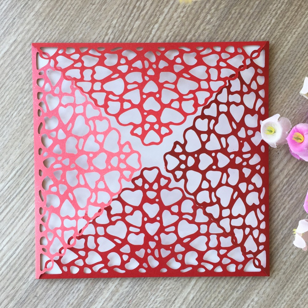 50pcs/free shipping four folds Happy new year Gold Laser cut wedding ...