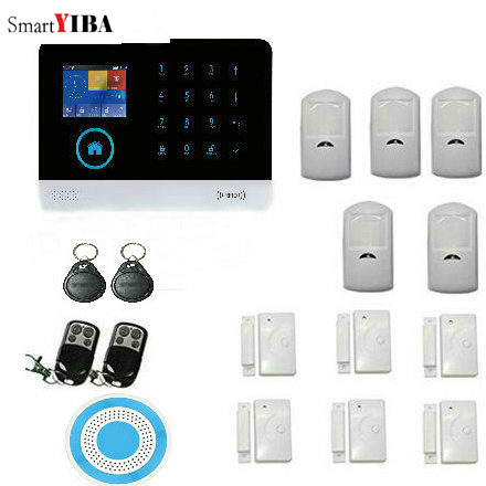 SmartYIBA WIFI GSM GPRS Wireless Home Alarm System Wireless PIR Sensor Door Sensor Security Alarm System APP remote Control intelligent home security alarm system with new door sensor pir detector app control sms gsm alarm system support rfid keypad
