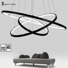 hot deal buy 40cm 60cm 80cm 100cm modern chandelier lights 4 circle rings design led chandelier lamp for dining room indoor lighting fixture