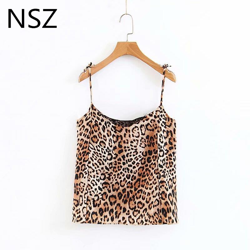 Women Animal Print Leopard Crop   Top   Sexy Lady Lace Camis Halter   Top   Sleeveless Straps   Tank     Top   Female Vest V-Neck Camisole