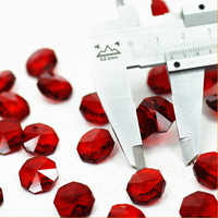 2000pcs 14mm dark Red Crystal octagon beads in 1 hole, Crystal Chandelier Parts, Crystal Curtain Beads Diy Jewelry Accessories