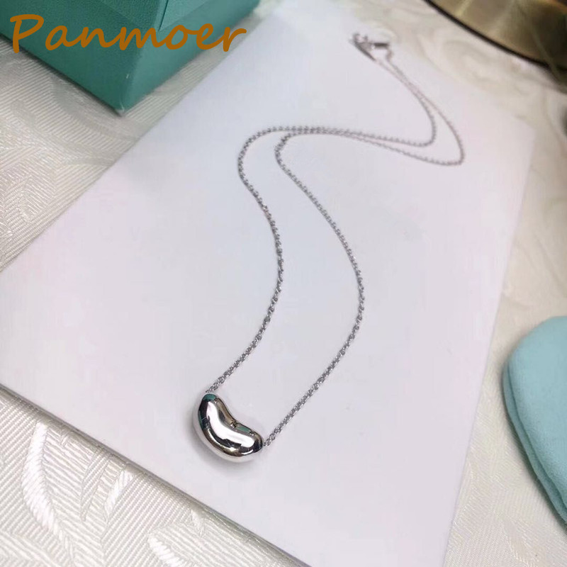 Drop shipping Classic style brand double t Pea Necklace 100% S925 silver pea pendant clavicle chain with logo fine jewelry gift jetem lugano blue
