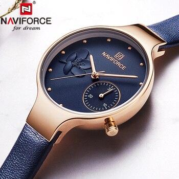 Naviforce Watch Women Luxury Leather Quartz Woman Watch Leather Wristwatch Watches Women Fashion Watch 2019 Relogio Feminino дамски часовници розово злато