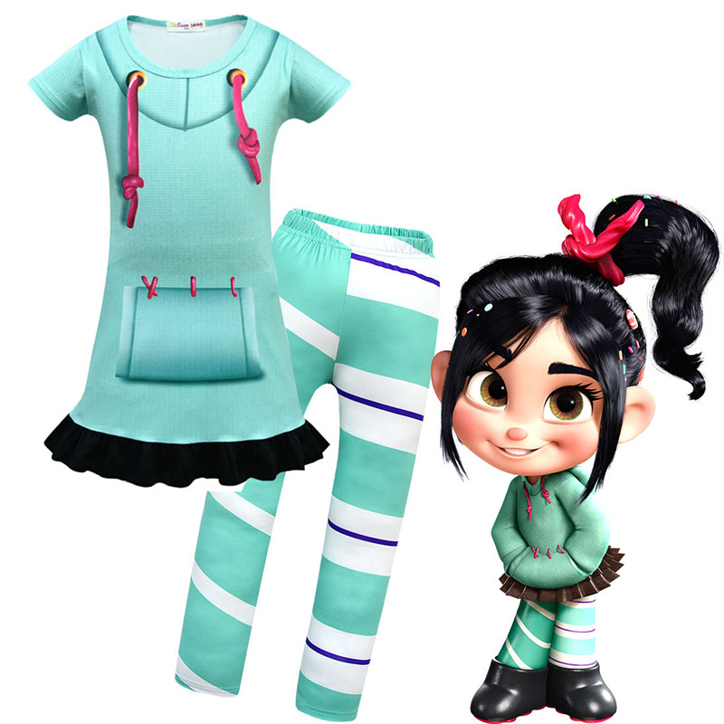 Carnival Vanellope von Schweetz green cosplay clothes Ralph Breaks the Internet girl clothing pajamas set Halloween
