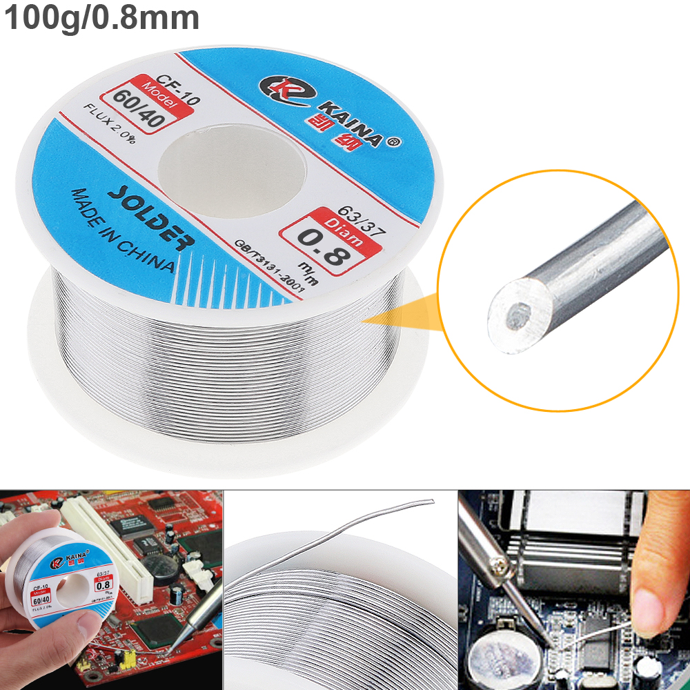 0.8mm 100g 60/40 Rosin Core Tin Lead Solder Wire Soldering Welding Flux 2.0% Iron Wire Reel for Electric Soldering Iron 500g 0 5 0 6 0 8 1 0mm tin lead soldering wire solder wire weld accessory