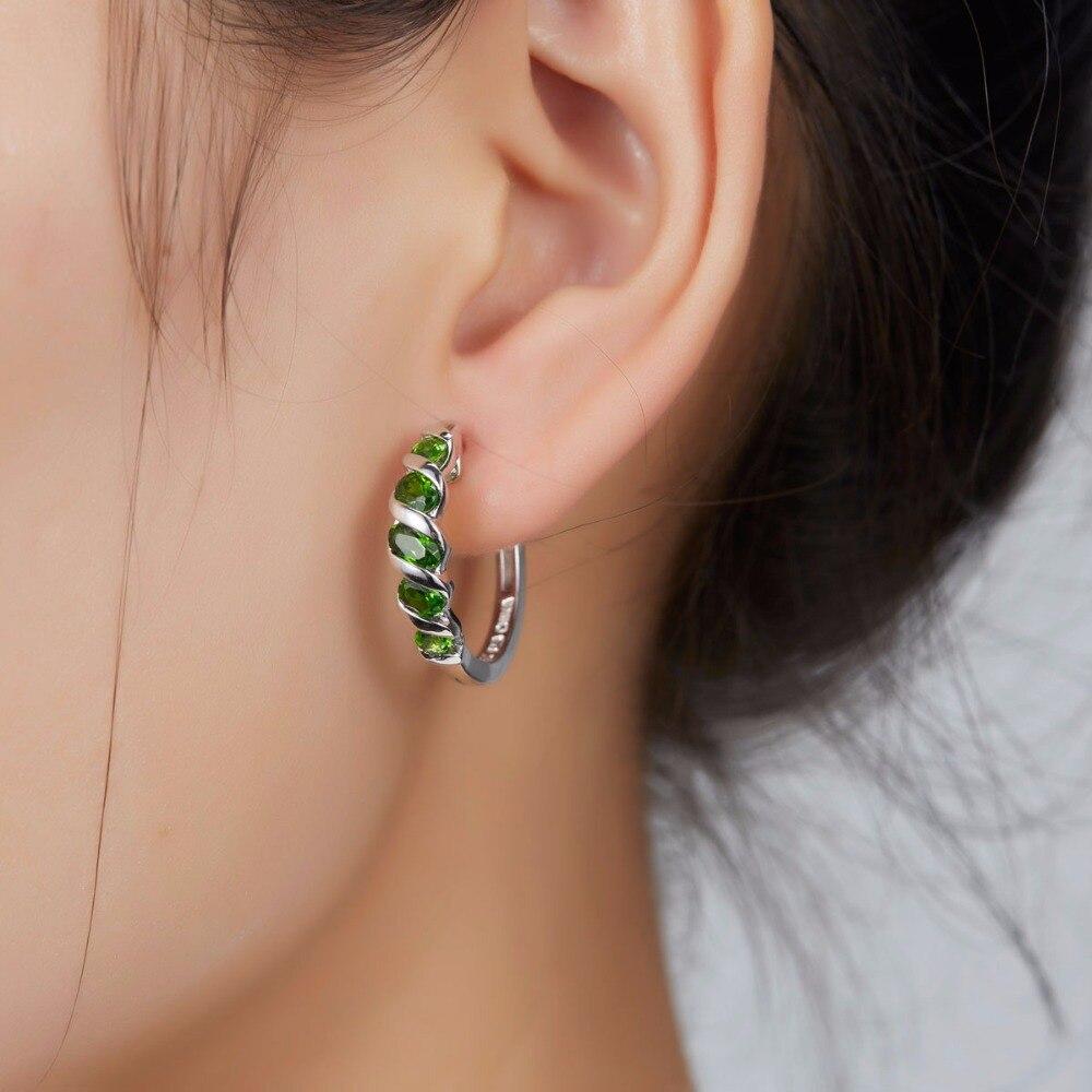 Hutang femmes Clip boucles d'oreilles 1.77ct Chrome naturel Diopside solide 925 Sterling argent vert pierre gemme Fine classique bijoux nouveau-in Boucles d'oreilles from Bijoux et Accessoires    2