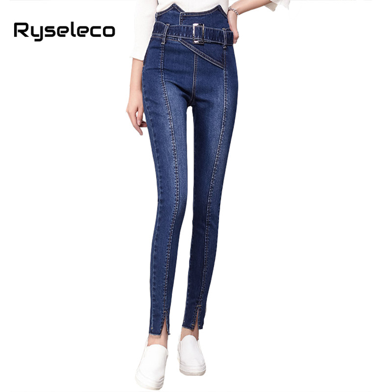 Ryseleco 2018 Women Fashion Intersect High Waist Lace Up Legging Jeans Skinny Slits Bleached Pencil Pants Slim Denim Trousers