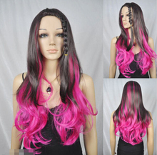 Hot heat resistant Kanekalon Party hair new fancy dress long roseo brown plait bang women cosplay hair wig