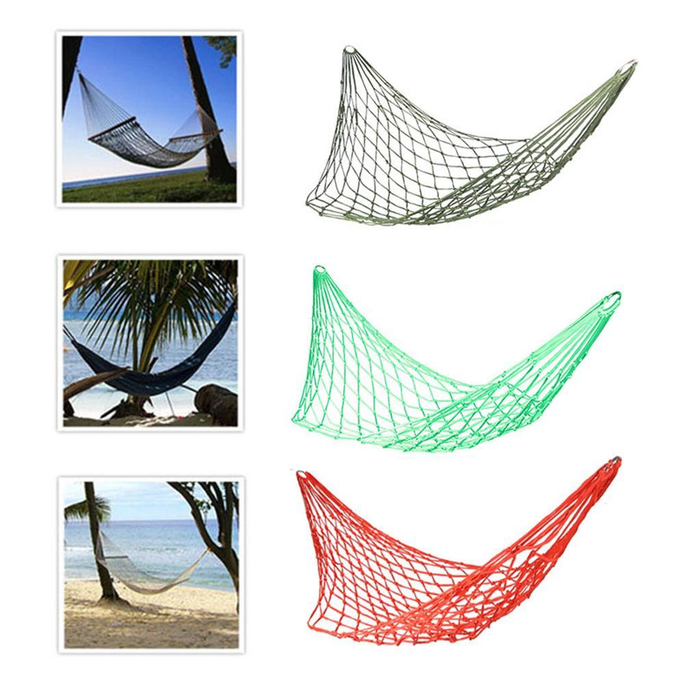 Sleeping Mesh Hammock Swing Sleeping Bed Hammock Hamaca Hamac Portable Garden Outdoor Camping Travel Furniture Nylon Bed Hangnet Buy One Get One Free Sports & Entertainment