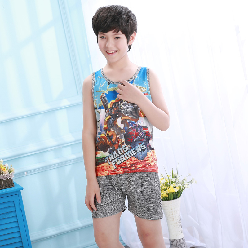 Children's Day Gift Kids Cotton Lovely New Arrival WAVMIT Children's Short-sleeved Shorts Boys   Pajamas     sets
