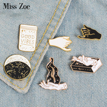 Gold Black White Enamel Pin Gesture Witch Book Wizard Badge GOOD VIBES Brooch Lapel Pins Denim Jeans Shirt Bag Punk Jewelry Gift(China)
