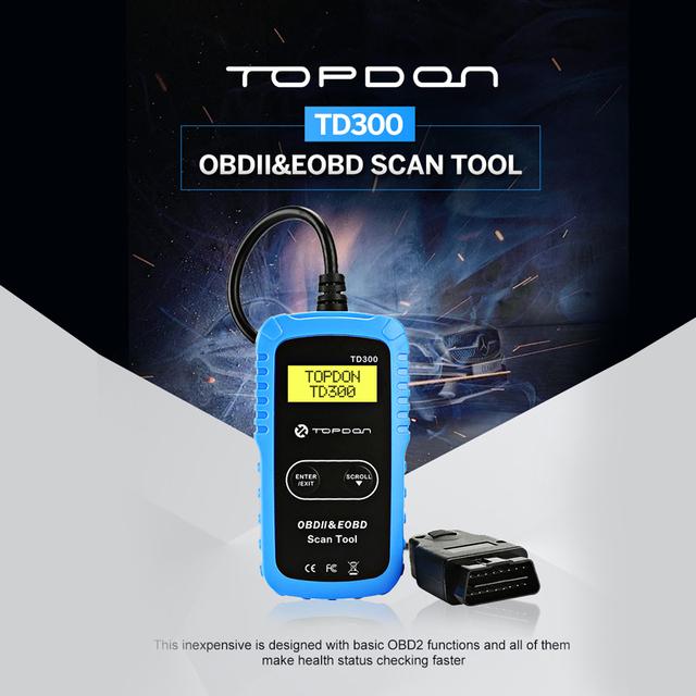 TOPDON TD300 OBD2 Code Reader Autoscan Tools PRO OBDII Scanner Automotive 12V Car Diagnosis I/M Readiness Diagnostic tools