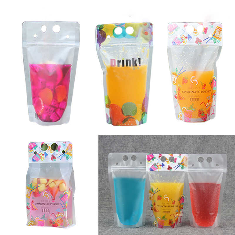 Hoomall 10PCs 500ML Portable Storage Durable Self Sealing Beverage Pouch Drink Matte Milk Plastic Juice Liquid Packaging Bags