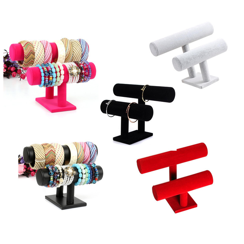 New 2 Tier Jewelry Hard Display Stand Holder Bracelet Bangle Watch T-bar 5 Color Available