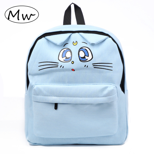 6eb6760a9f76 Japanese Style Cute Cat Printing Backpack Students Book Bag Travel Shoulder Bag  School Bags For Teenager