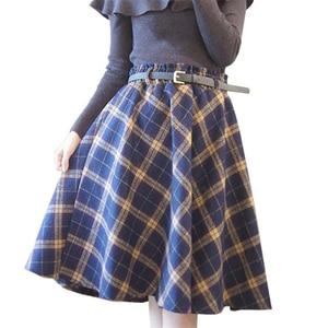 Image 5 - Neophil 2019 Winter High Waist Wool Plaid School Pleated Midi Skirts Womens England Style Skater Woolen Tartan Tutu Saias S1736