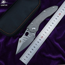LEMIFSHE Stitch Flipper  s35vn blade Folding knife Titanium handle Tactical hunt outdoor camping survival Knives EDC tool jufule deer damascus pattern folding camping hunt pocket survival edc tactical outdoor flipper original design kitchen tool